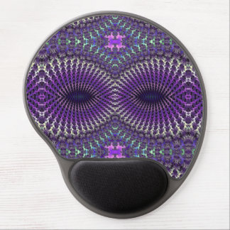Bright Colorful Purple Silver Fractal Eye Mask Gel Mouse Mats