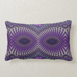 Bright Colorful Purple Silver Fractal Eye Mask Throw Pillow
