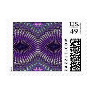 Bright Colorful Purple Silver Fractal Eye Mask Postage Stamp