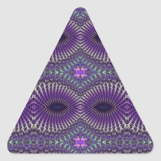 Bright Colorful Purple Silver Fractal Eye Mask Triangle Sticker