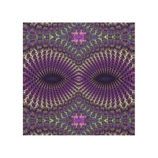 Bright Colorful Purple Silver Fractal Eye Mask Wood Wall Art