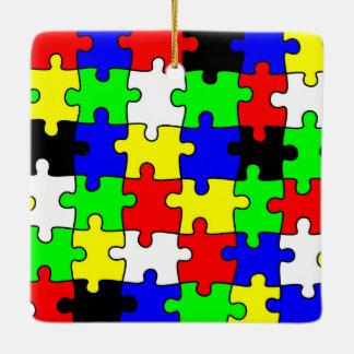Bright & Colorful Puzzle Pieces Ceramic Ornament