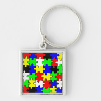 Bright & Colorful Puzzle Pieces Keychain