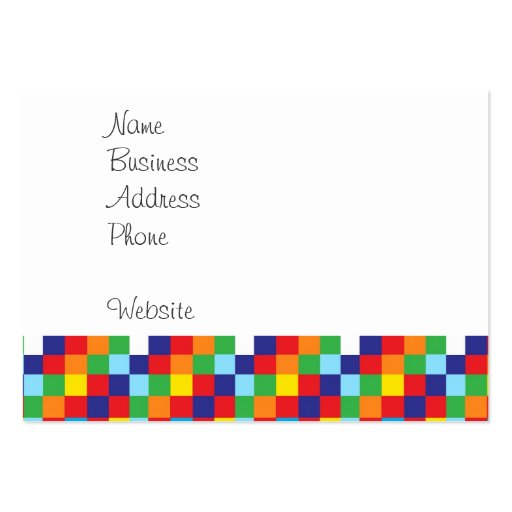 Bright Colorful Quilt Squares Pattern Blue Red Large Business Cards (Pack Of 100)