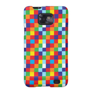 Bright Colorful Quilt Squares Pattern Blue Red Galaxy S2 Cases