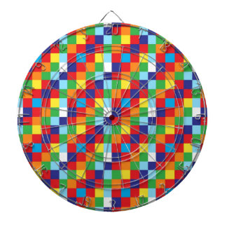Bright Colorful Quilt Squares Pattern Blue Red Dartboard With Darts