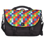 Bright Colorful Quilt Squares Pattern Blue Red Bags For Laptop
