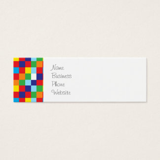Bright Colorful Quilt Squares Pattern Blue Red Mini Business Card