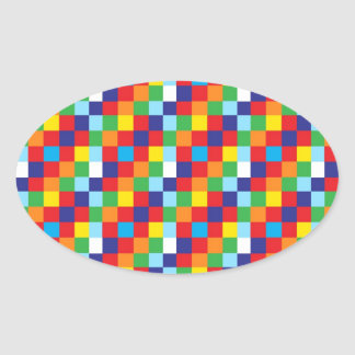 Bright Colorful Quilt Squares Pattern Blue Red Oval Sticker