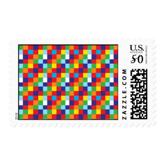 Bright Colorful Quilt Squares Pattern Blue Red Postage