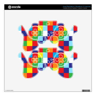 Bright Colorful Quilt Squares Pattern Blue Red Skin For PS3 Controller
