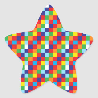 Bright Colorful Quilt Squares Pattern Blue Red Star Sticker