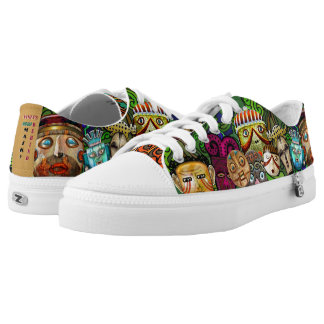 Bright Colorful Quirky Tribal Masks Low-Top Sneakers