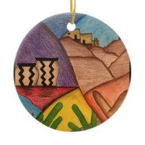 Bright Colorful Rainbow Arizona Folk Art Ceramic Ornament
