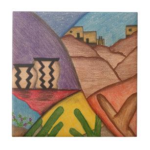 Bright Colorful Rainbow Arizona Folk Art Ceramic Tile
