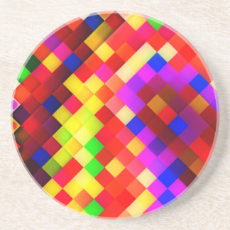 Bright Colorful Rainbow of Squares Pattern Drink Coaster