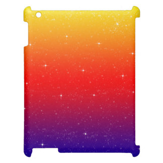 Bright colorful rainbow pattern with faux sparkles case for the iPad