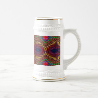 Bright Colorful Red Yellow Fractal Eye Mask Beer Stein