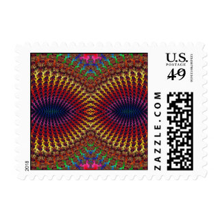 Bright Colorful Red Yellow Fractal Eye Mask Stamp