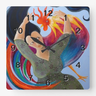 Bright Colorful Rooster and Lady Wallclock