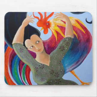 Bright Colorful Rooster and Lady. Mouse Pad