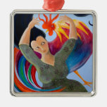Bright Colorful Rooster and Lady. Christmas Ornaments