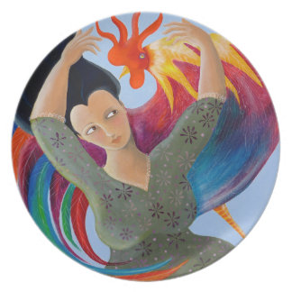 Bright Colorful Rooster and Lady. Plate
