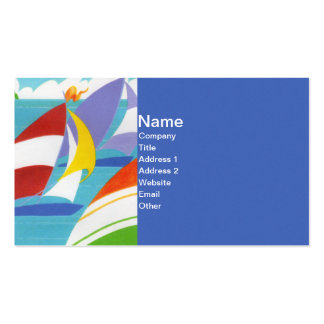 Bright colorful Sailboats Floating in Water Business Card