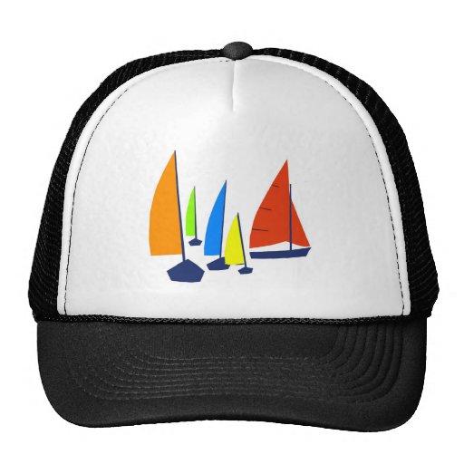Bright colorful sailboats hat