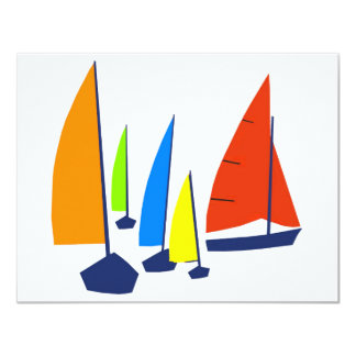 Bright colorful sailboats announcements