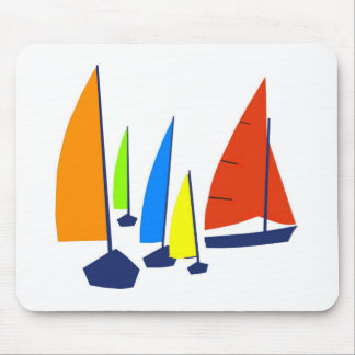 Bright colorful sailboats mouse pad
