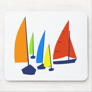 Bright colorful sailboats mouse pad