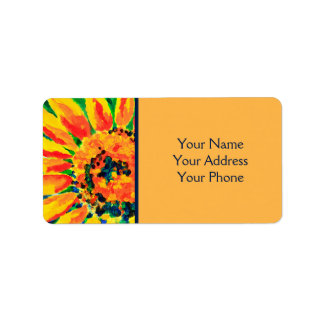 Bright Colorful Single Sunflower Acrylic Painting Label