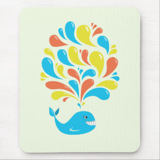 Bright Colorful Splash Happy Cartoon Whale Mouse Pad