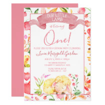 Bright Colorful Spring Lamb First Birthday Party Invitation