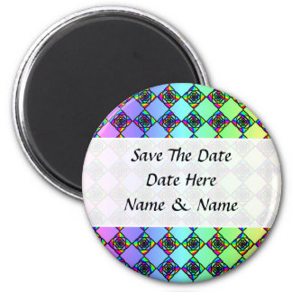 Bright Colorful Stained Glass Style Pattern. 2 Inch Round Magnet