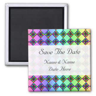 Bright Colorful Stained Glass Style Pattern. 2 Inch Square Magnet