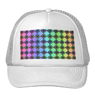 Bright Colorful Stained Glass Style Pattern. Trucker Hat