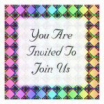 Bright Colorful Stained Glass Style Pattern. Custom Invitations