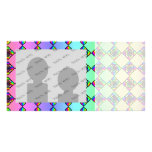 Bright Colorful Stained Glass Style Pattern. Personalized Photo Card