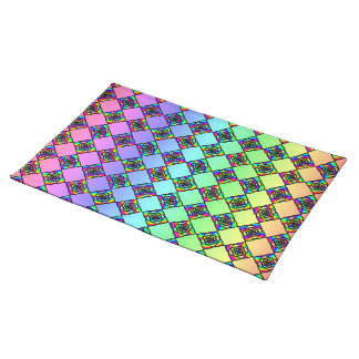 Bright Colorful Stained Glass Style Pattern. Placemat