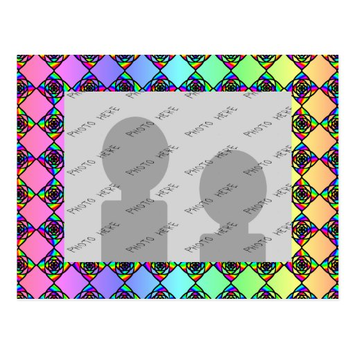 Bright Colorful Stained Glass Style Pattern. Post Card