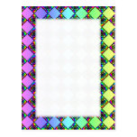 Bright Colorful Stained Glass Style Pattern. Postcard