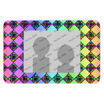 Bright Colorful Stained Glass Style Pattern. Flexible Magnet