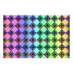 Bright Colorful Stained Glass Style Pattern. Stationery Paper