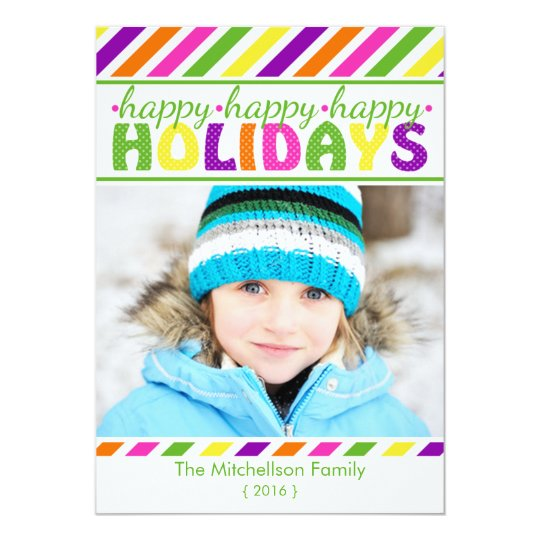 BRIGHT Colorful Stripes Christmas Flat Card