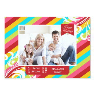 Bright Colorful Stripes Holiday Flat Card