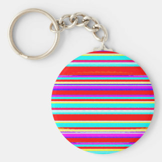 Bright Colorful Stripes in Red Turquoise Hot Pink Keychain