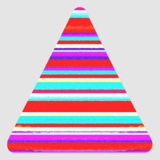 Bright Colorful Stripes in Red Turquoise Hot Pink Triangle Sticker