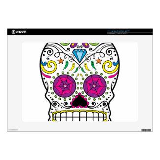 "Bright Colorful Sugar Skull-Dia Des Los Muertos Decals For 15"" Laptops"